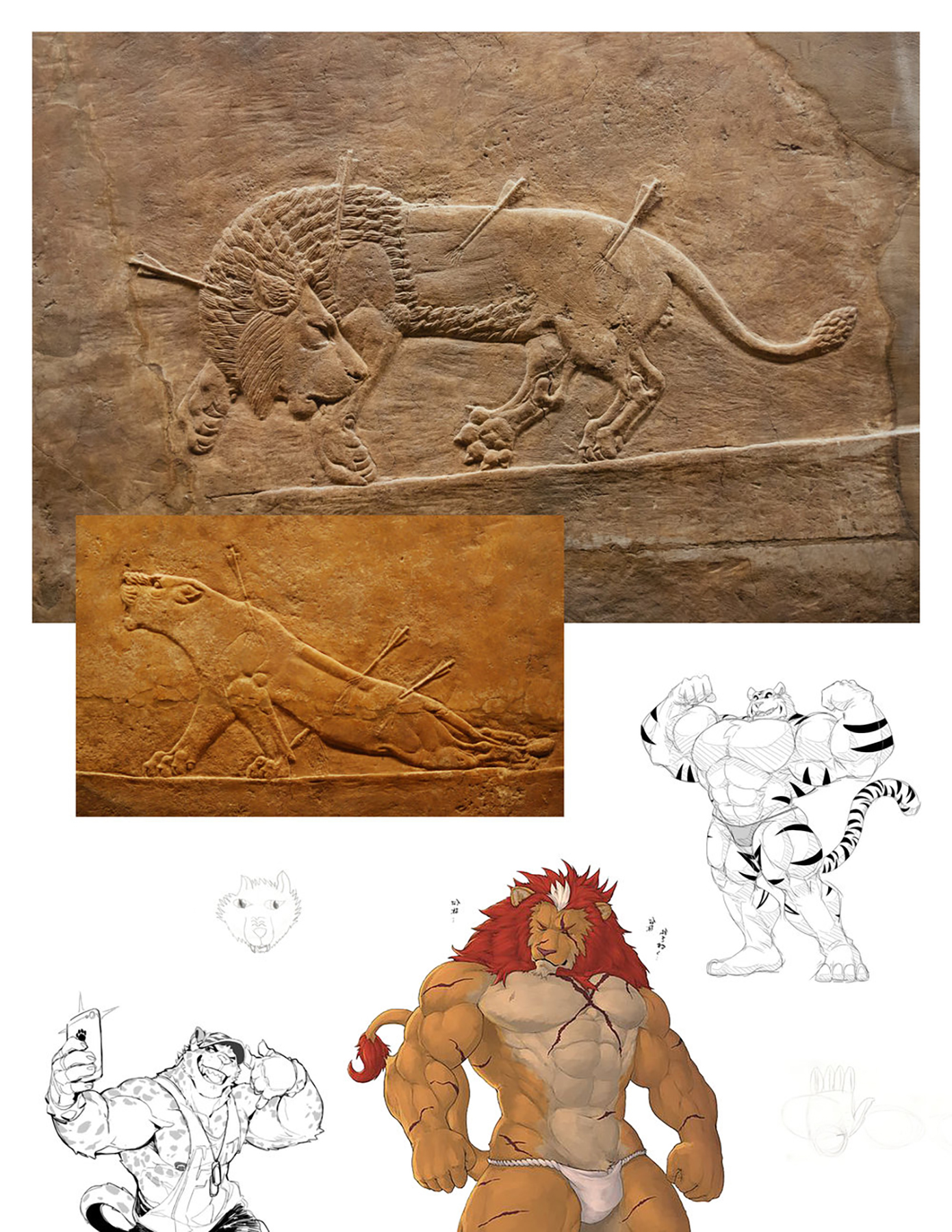 collarge artwork featuring archaeological details